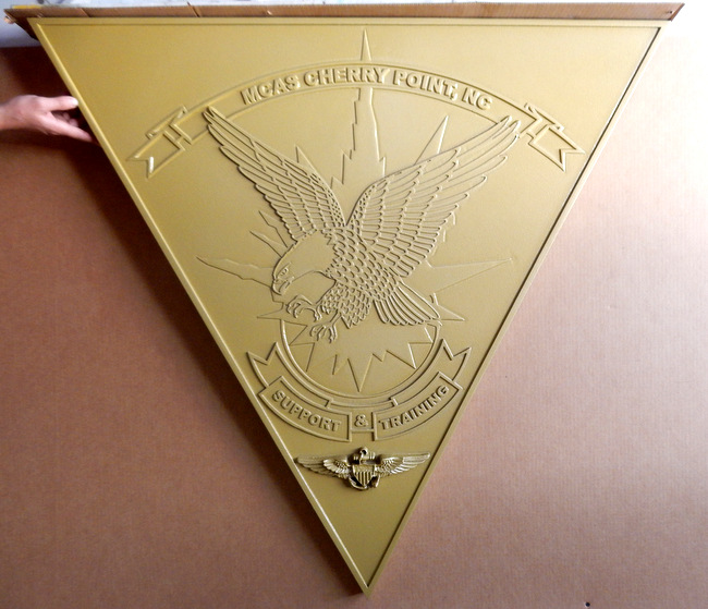 M7424 - Gold Painted Carved Wall Plaque for Marine Corps MCAS Chery Point Training Facility.