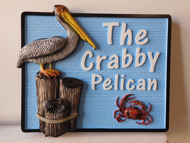 "L21622 - Property Name Sign for a Coastal Residence, ""The Crabby Pelican"", featuring a standing Pelican on a Post and a Crab"