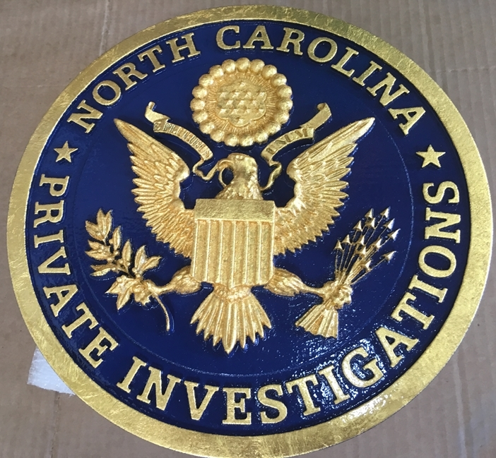 "S28031 - Carved 3-D Sign  for  ""North Carolina Private Investigations"" , with 24K Gold Leaf Gilding"
