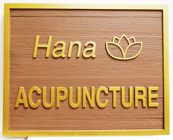 """B11256 - Carved Western Red Cedar carved  Sign for """"Hana Acapuncture"""", 2,5-D Raised Relief, Artist-Painted"""