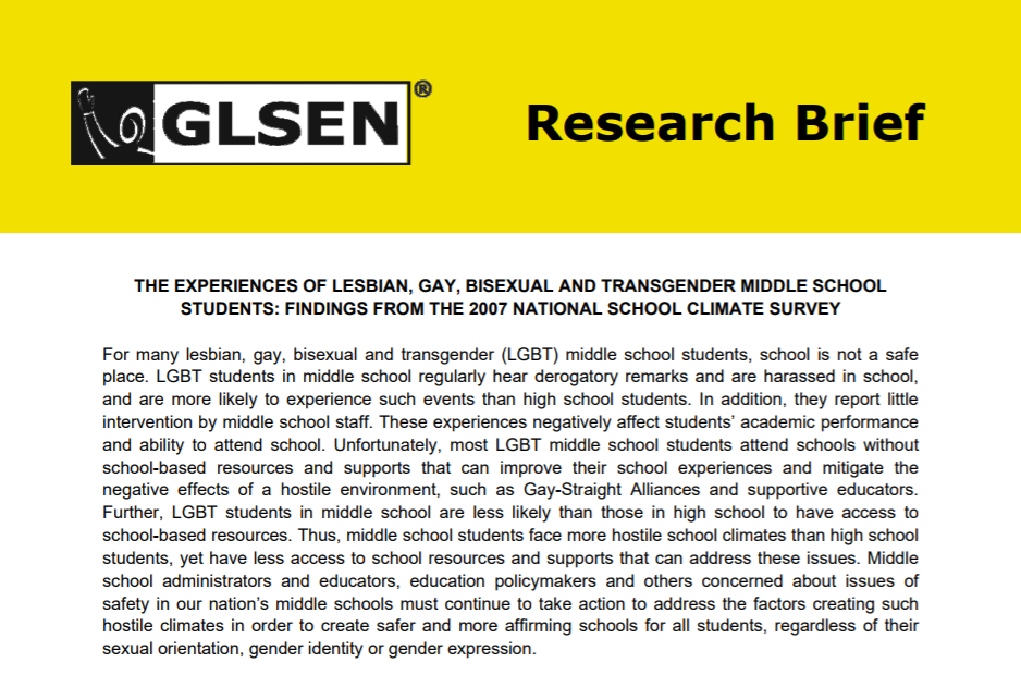 National School Climate. Survey: The experiences of lesbian, gay, bisexual and transgender Middle School