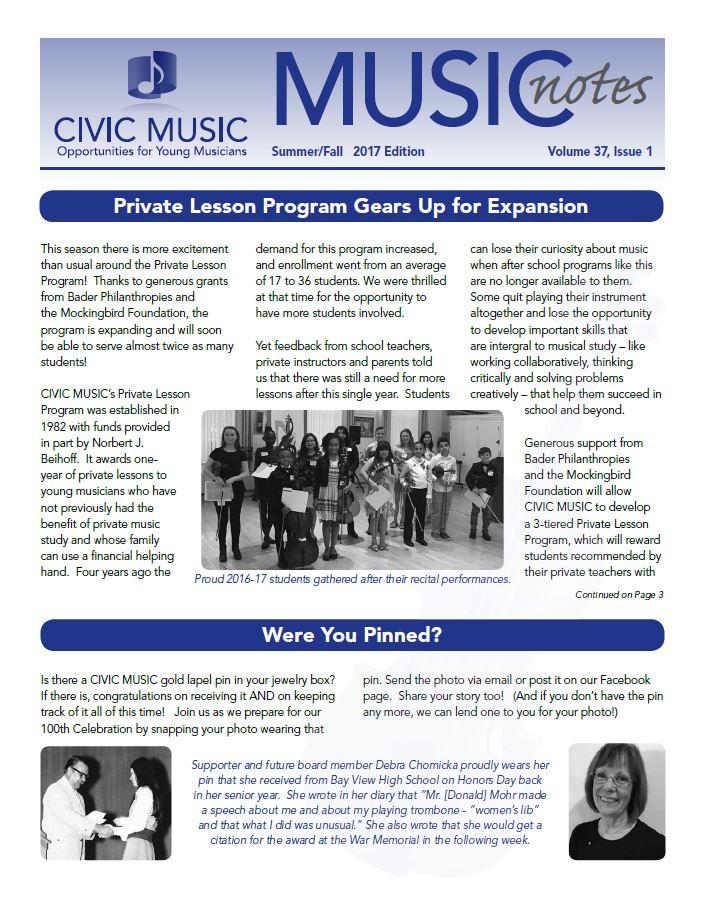 Civic Music Newsletter Winter/Spring 2017