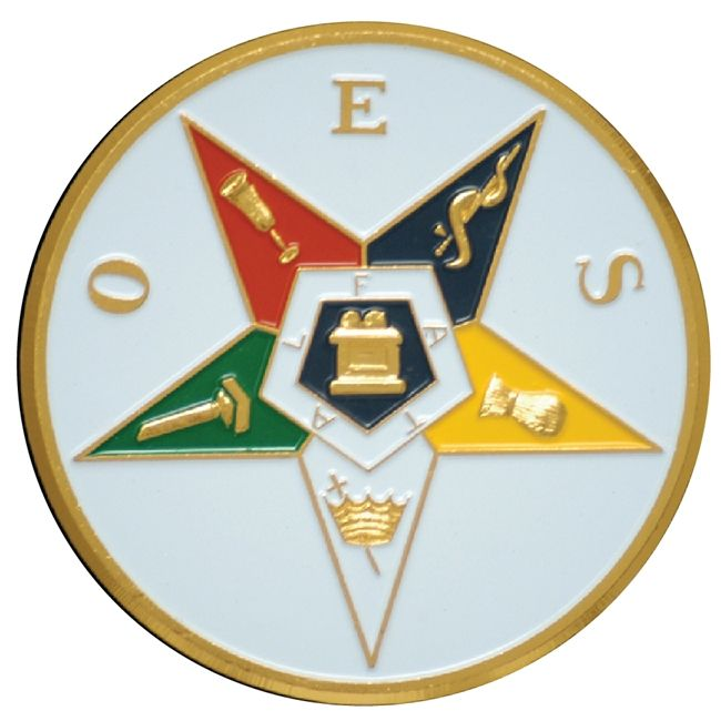 UP-2110 - Carved Wall Plaque of the Emblem of the Order of the Eastern Star, Gold Leaf Gilded