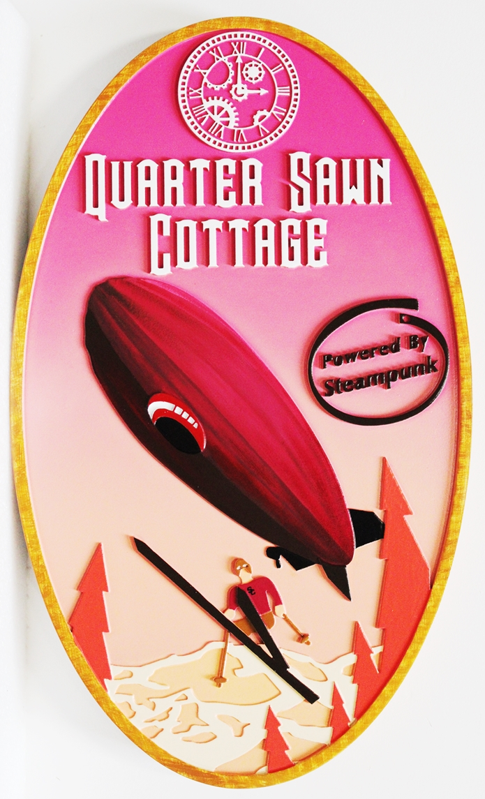 "M22232 - Carved Multi-Level HDU  Property Name Sign ""Quarter Sawn Cottage"" with Skier Jumping and Dirigible Overhead as Artwork"
