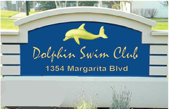 GB 16753 - Monolithic EPS Monument Entrance Sign for Dolphin Swim Club