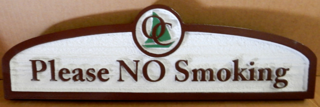 "KA20625 - Carved HDU (Choice of Wood or HDU Available) Sign ""Please NO Smoking"" with Company Logo"
