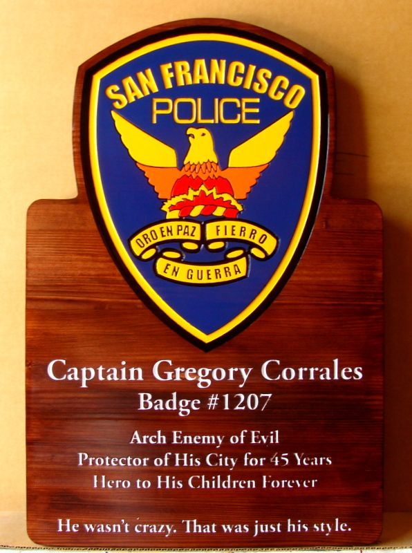 PP-2360 - Carved  Wall Retirement Plaque of the Shoulder Patch of the San Francisco Police, For a Retired Captain,  Artist Painted on Cedar