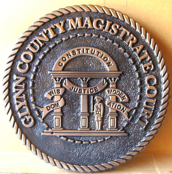 A10858-  Carved 2.5-D Copper Courtroom Wall Plaque, for Georgia County Magistrate Courthouse