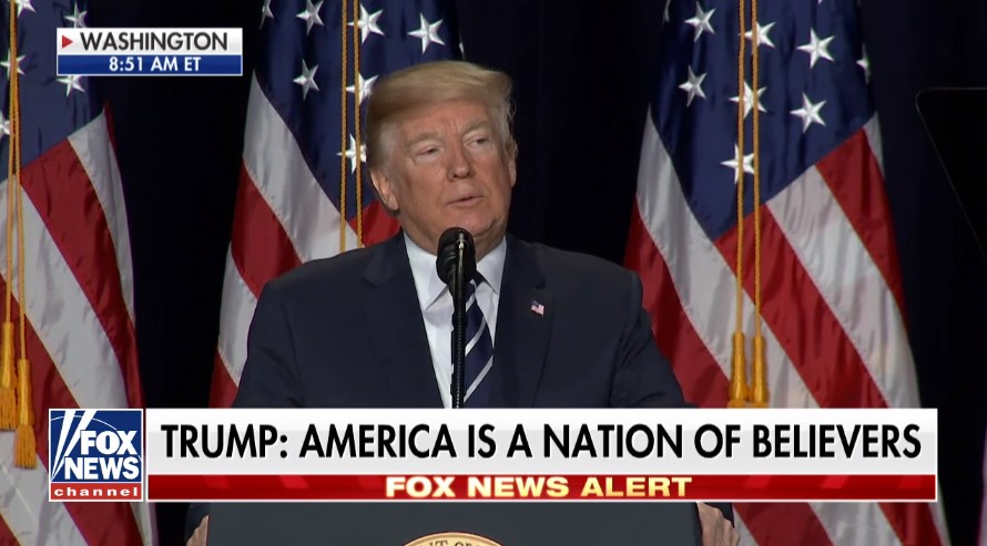 Trump declares America 'a nation of believers' at National Prayer Breakfast
