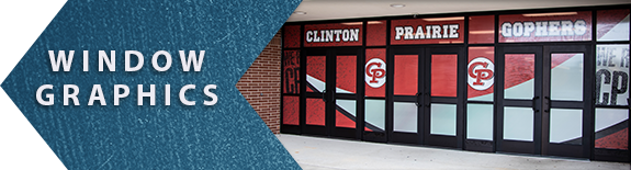 Window Graphics example link, exterior doors covered in graphics, school graphics, window graphics