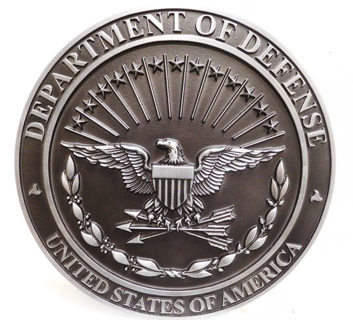 V31104 - Carved 3D Aluminum-plated  Wall or Podium  Plaque of the Great Seal of the Department of Defense