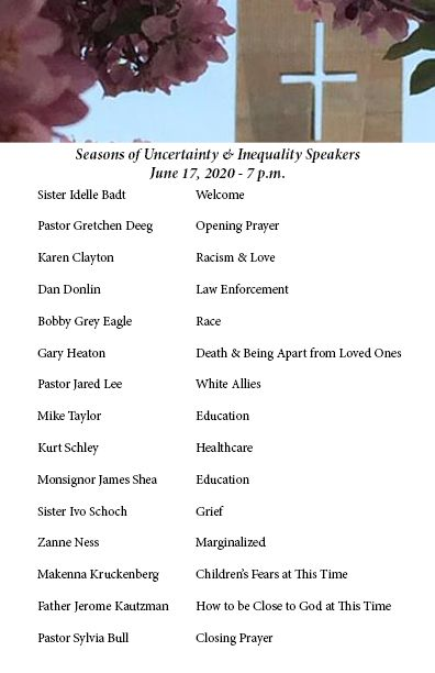 Speakers for Seasons of Uncertainty & Inequality Event - June 17 - 7 pm
