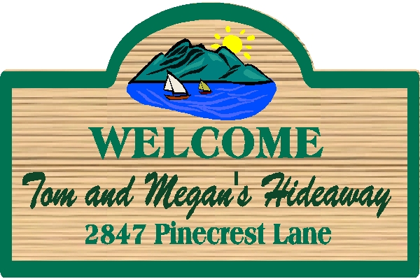 M22352 - Name and Address Welcome Sign for Hideaway with Sailboat