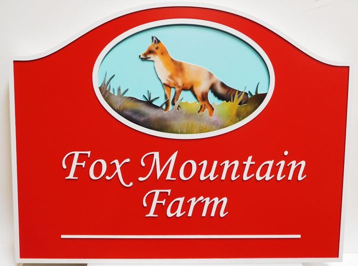 """O24612 - Carved  """"Fox Mountain Farm"""" Sign, with Artist-Painted Fox as Artwork"""