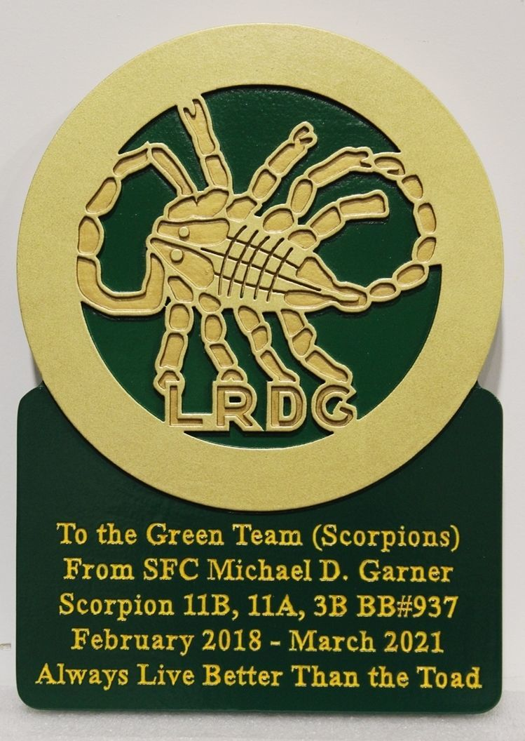 OP-1250 - Carved 2.5-D Recognition Plaque of the Crest of the Long Range Desert Group (LRDG) , the Scorpions, o Unit of the British Army in WW II