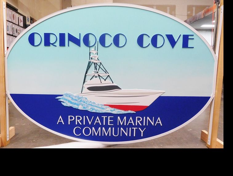 "K20129 -  Carved  HDU ""Orinoco Cove"" sign for a Private Marina Community, 2.5D Artist-Painted"