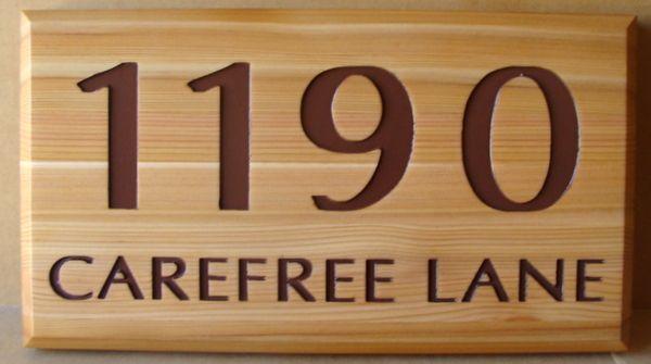 AG112 -  Engraved Cedar Street Address Sign