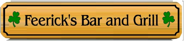 Q25730 - Carved Cedar Sign for Home Irish Bar,  Naturally Finished, with Shamrocks
