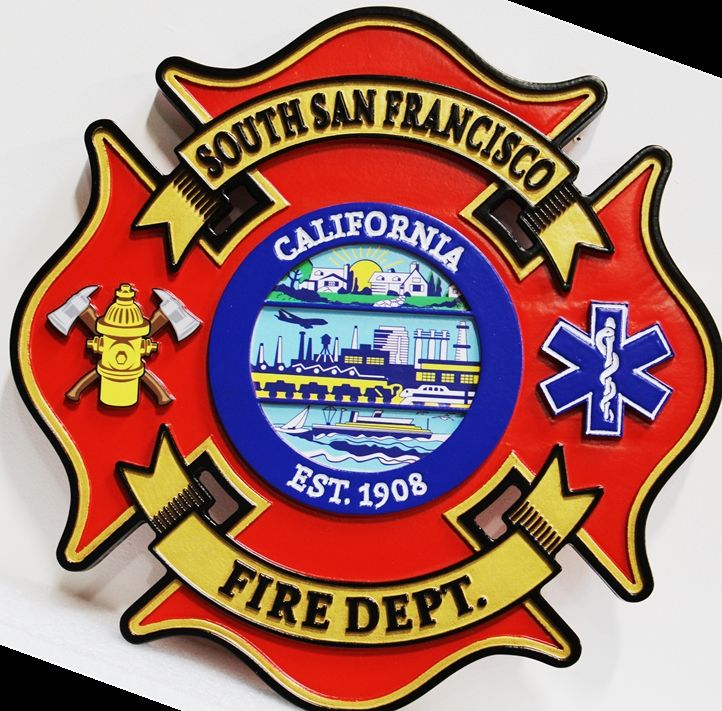 QP-1145 - Carved and Artist-Painted High-Density-Urethane Plaque of  the Badge of the Fire Department of South San Francisco , with City Scenes as Artwork