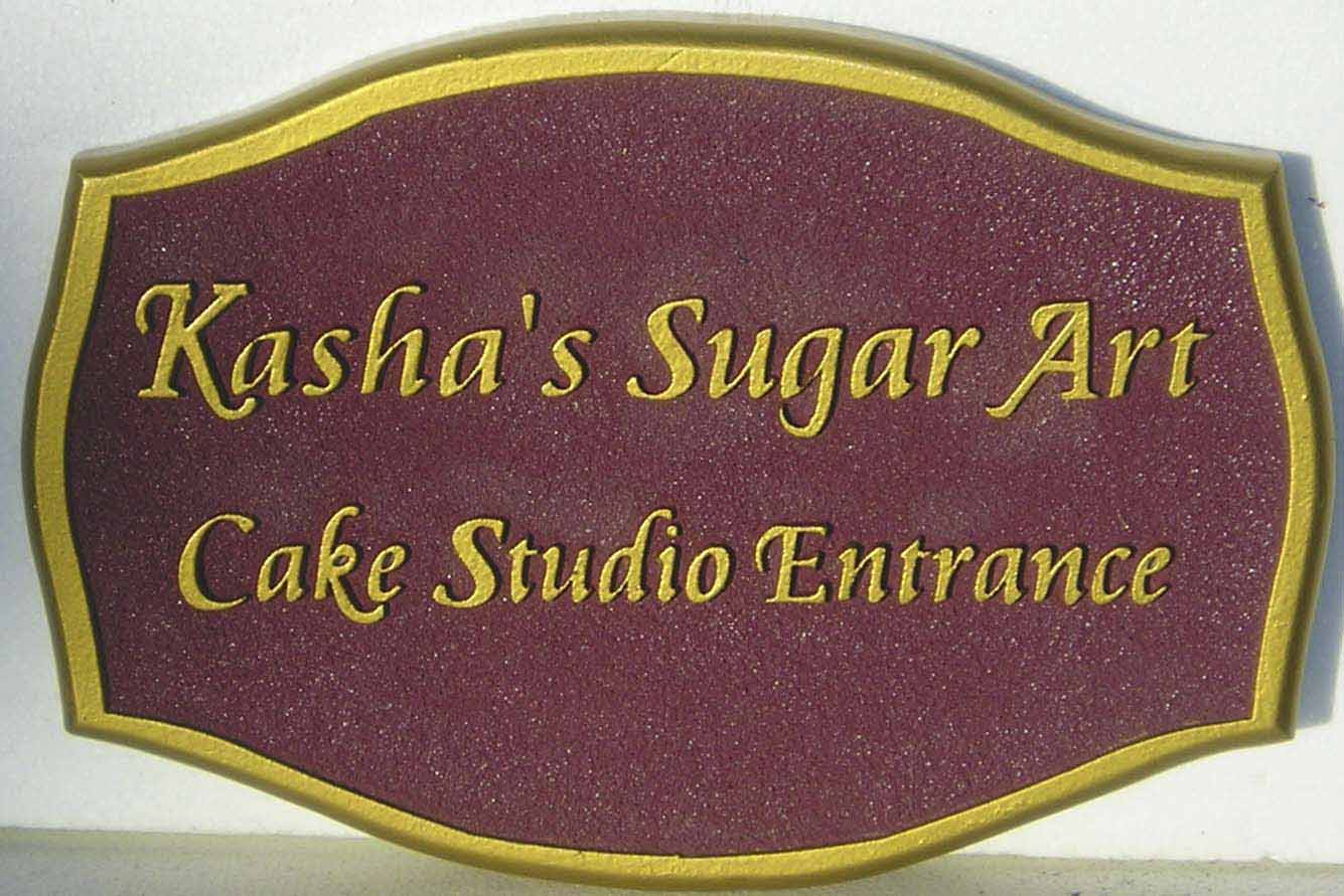 "Q25632 - Sandblasted Sandstone Look HDU Entrance Sign for ""Sugar Art""Cake Studio - Pastry Shop"