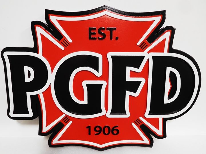 QP-3019 - Carved Plaque of the Emblem of the PG Fire Department