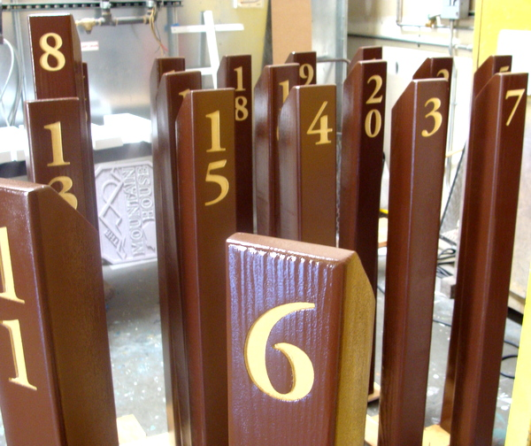 G16167 - Cedar Wood Post Engraved Campground Campsite Number Signs
