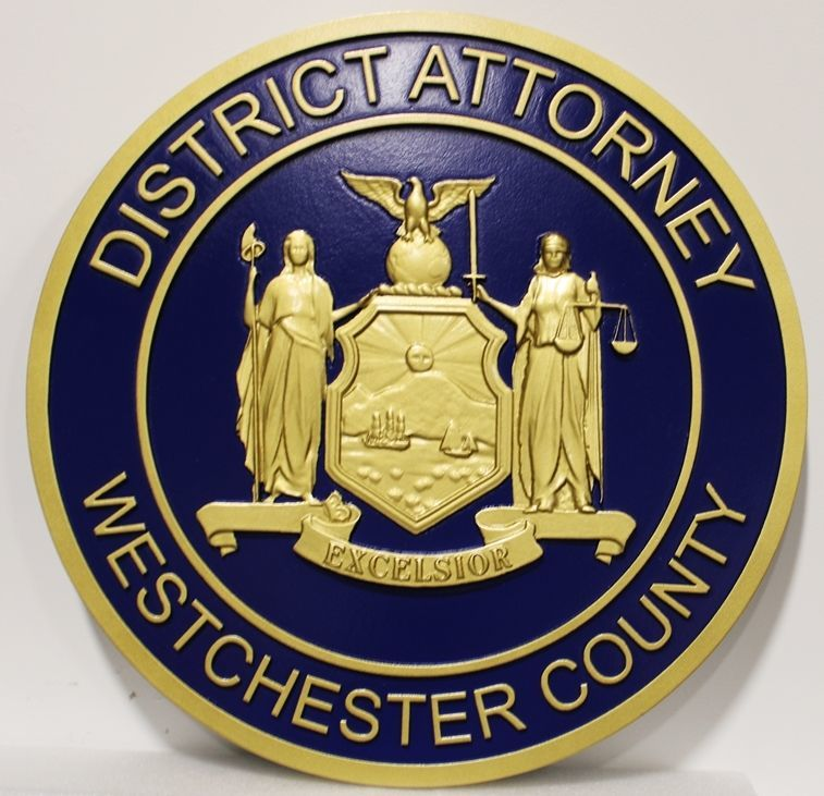 CP-1790 - Carved 3-D Bas-Relief Plaque of the Seal of the District Attorney, Westchester County inthe State of New York
