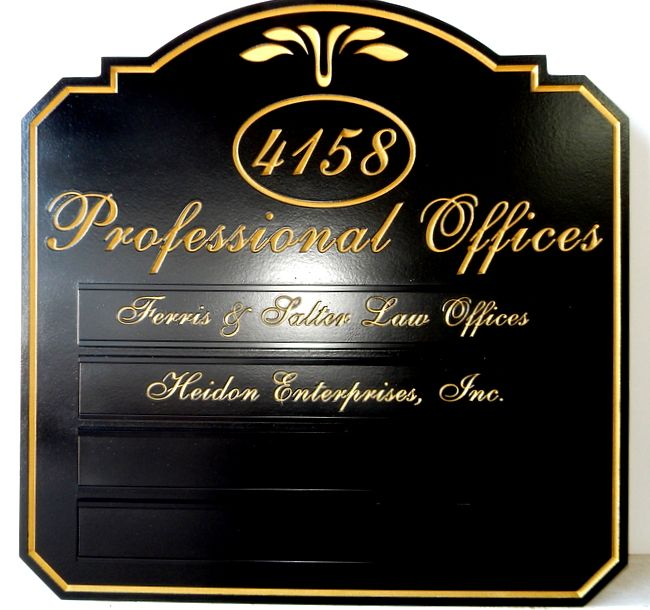 A10688 - Elegant Directory Sign for Attorneys, with Gold-Leaf Gilding for Text, Border and Art