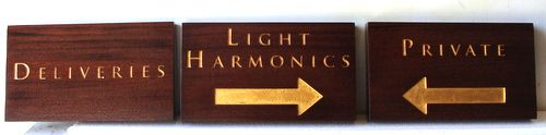 SA28521 - Three Directional Engraved Cedar Wood Signs with 24K Golf Leaf for Business, Directional Signs for Deliveries and Private Entrance
