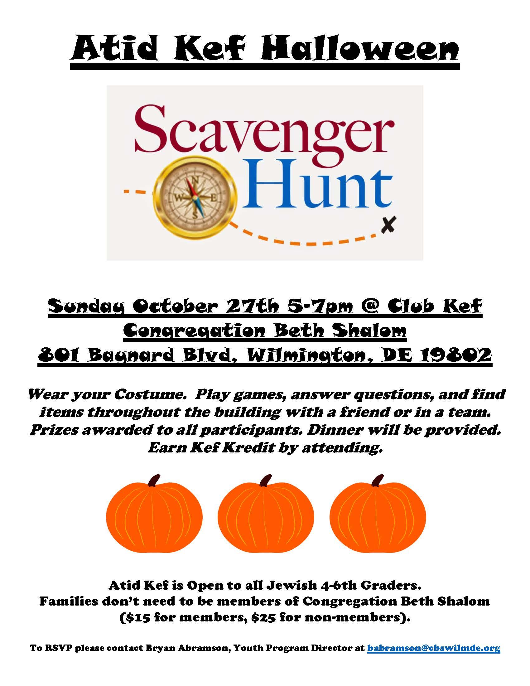 Atid Kef Halloween Scavenger Hunt-Open to all Jewish 4-6th Graders