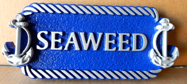 "L21876 - Carved Quarterboard Beach House Sign ""Seaweed"" with Rope Border and 3-D Carved Ships Anchors"