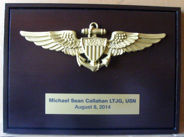 V31233 – Carved  Wall Plaque with 3D  Brass Naval Aviator (Officer) Wing Badge Mounted on it, along with Personalized  Engraved Brass Nameplate