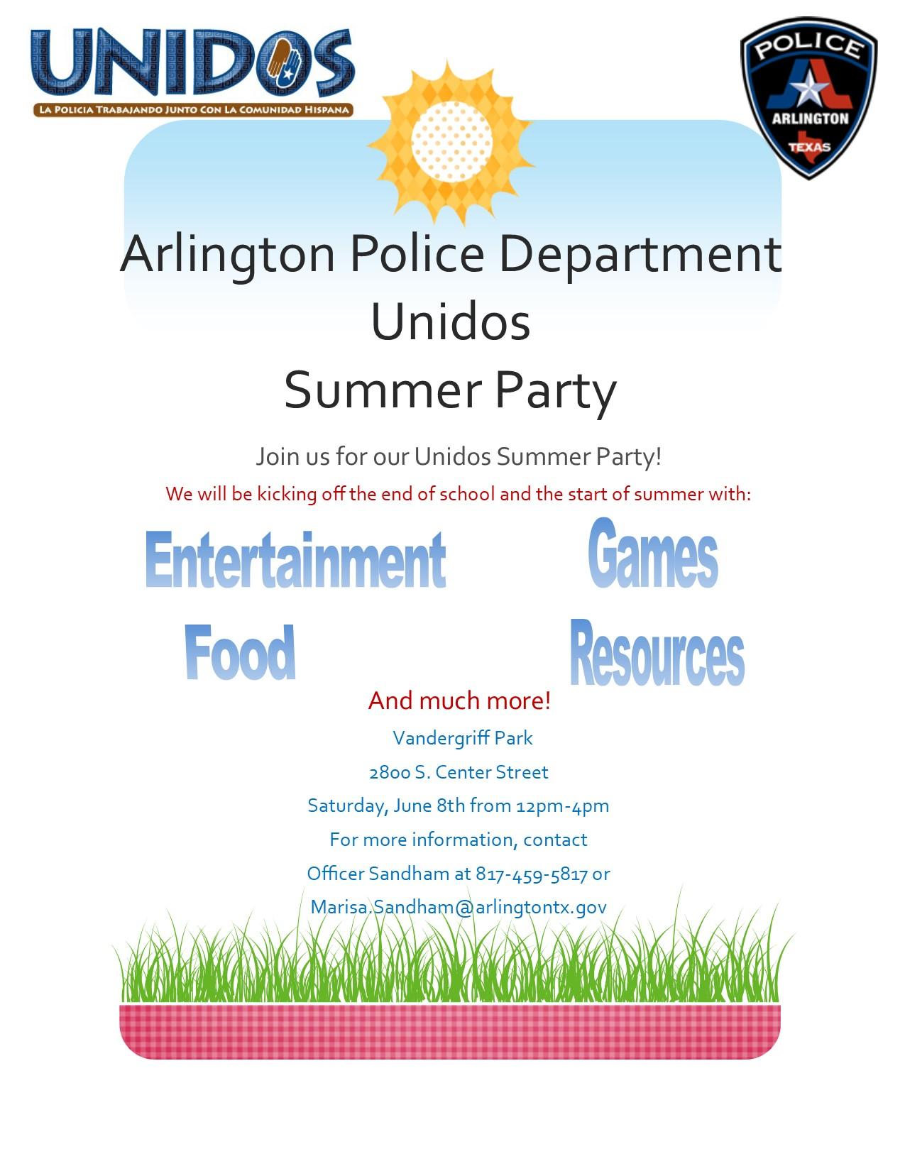 Arlington Police Dept UNIDOS Summer Party!