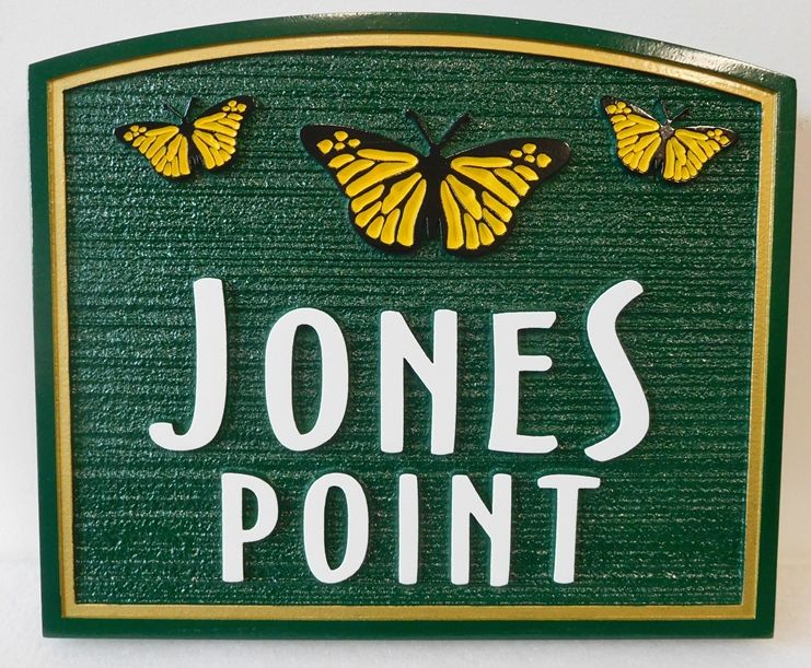 """M22419 - Sandblasted Wood Grain Property Name  Sign """"Jones Point""""  with Three Carved Monarch Butterflies"""
