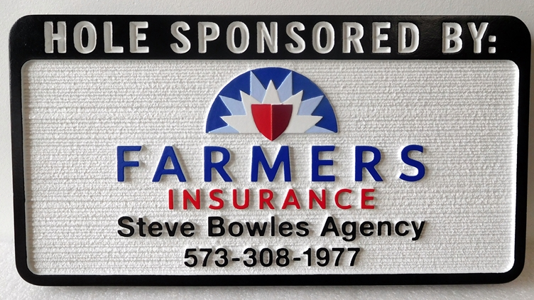 E14580 – Carved and Sandblasted Wood Grain  HDU Golf Hole Sponsor Sign, Famer's Insurance