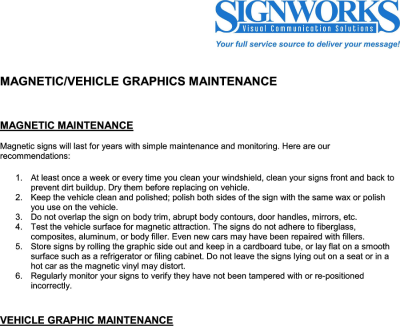 Magnetics & Vehicle Graphics Maintenance