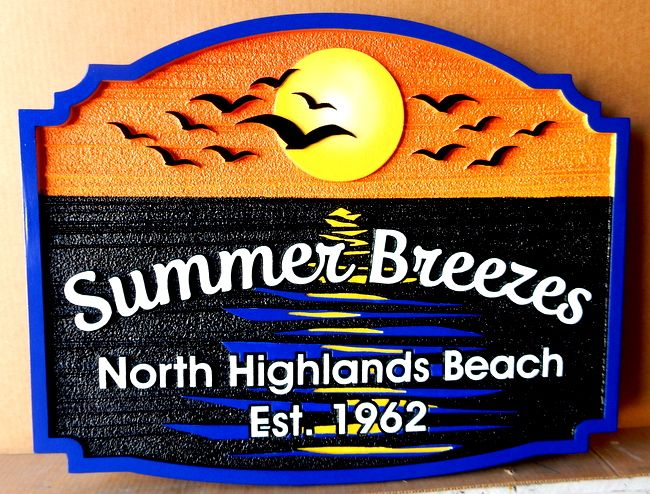 "L21213 - Address Sign for ""Summer Breezes"" with Ocean, Birds, Sun and Sun's Reflection on Water"