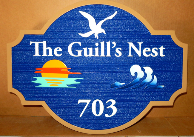 "L21644 - Beach House Address Sign ""The Guill's Nest"" with Seagull, Sun and Waves"