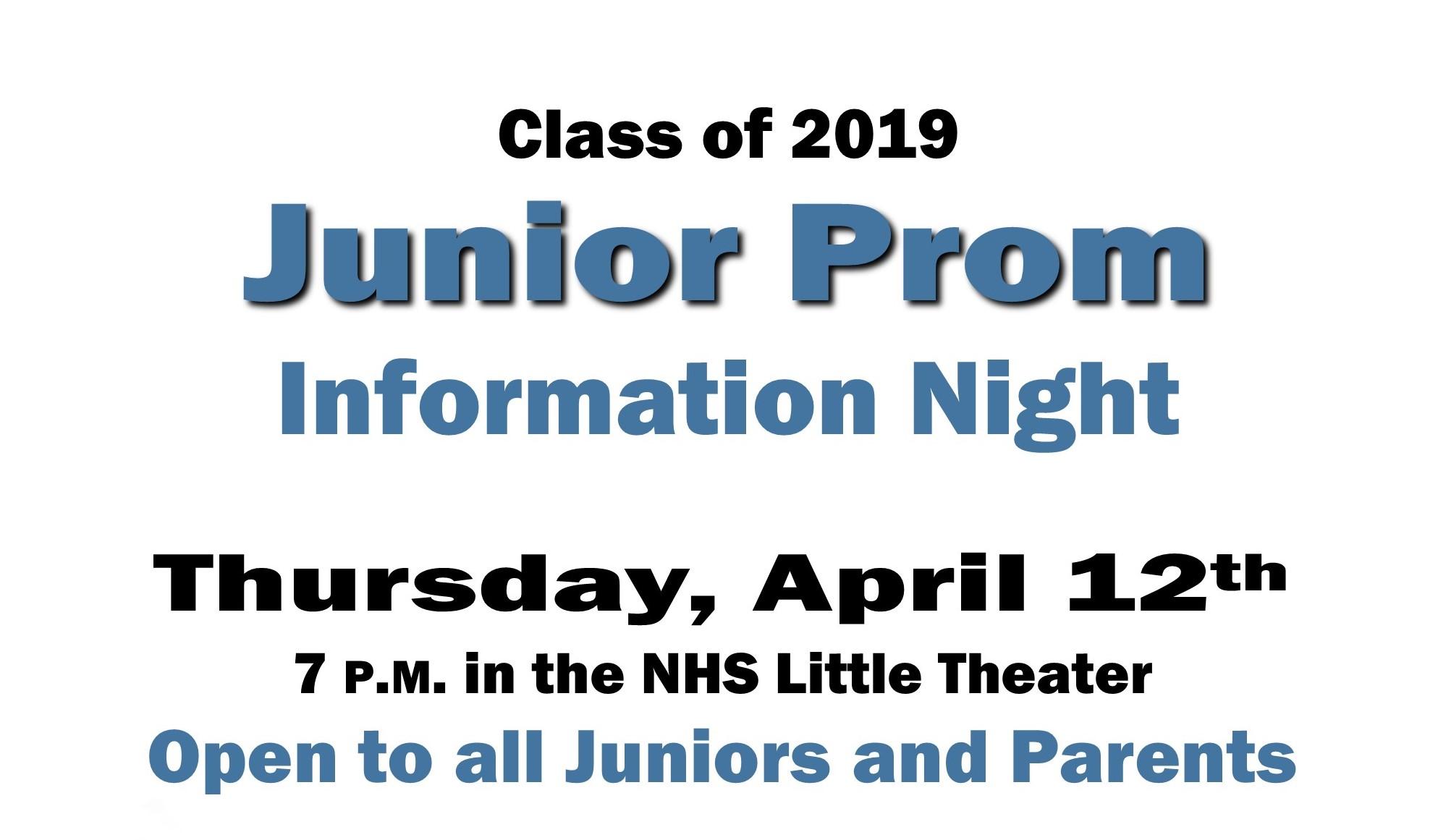 Class of 2019 Junior Prom Forum