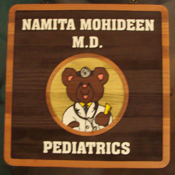 B11027 – Carved and Sandblasted  Redwood Sign for Pediatrics Office, with Picture  Of Teddy Bear as Doctor