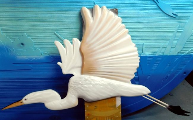 L21625 - 3-D Bas-Relief Carving of an Egret in Flight, An Applique Mounted on a Large Entrance Sign for a Park