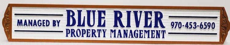 "C12487 - Carved and Sandblasted Wood Grain  HDU Sign  for ""Blue River Property Management"""