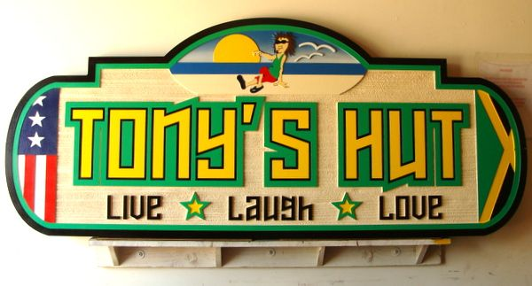 """L21810 - Carved and Sandblasted Beach House Sign, """"Tony's Hut"""""""