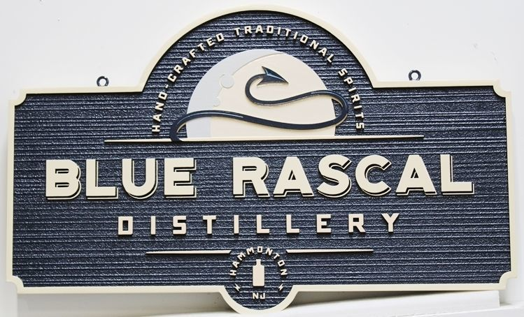 RB27126 - Carved 2.5-D and Sandblasted Wood Grain Sign for the Blue Rascal Distillery