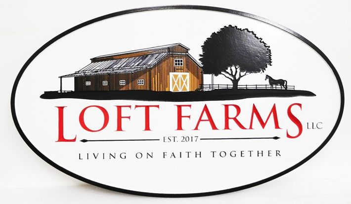 """Q24807 - Carved Engraved Entrance Sign for """"Loft Farms""""  with  Barn and Tree Artwork"""