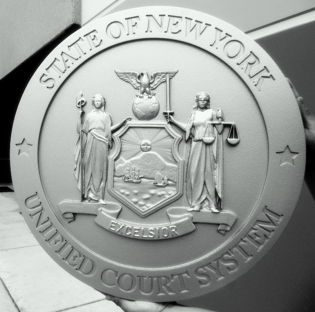 W32371E - Carved HDU Plaque for the Seal of the State of New York (Unified Court System)