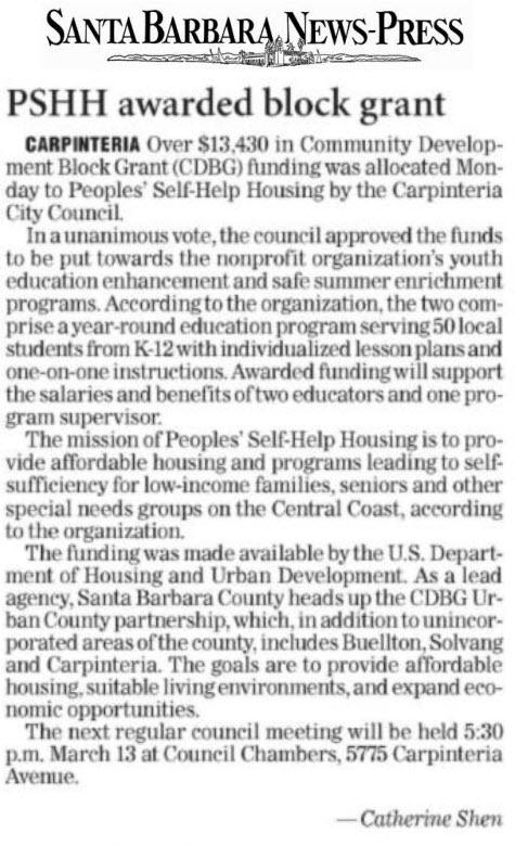 PSHH awarded block grant - Santa Barbara News-Press