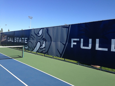 Fence banners for school tennis courts in Orange County