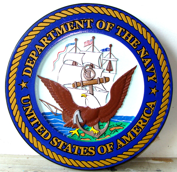 V31203 - Carved 3-D Painted Mahogany Wall Plaque of the Great Seal of the US Navy, with Frigate and Eagle
