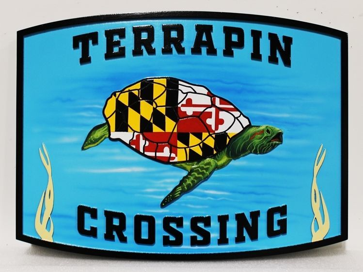 """L21671- Carved EngravedHDU  Coastal ResidenceNameSign """"Terrapin Crossing"""", with Stylized Swimming Sea Turtle as Artwork"""